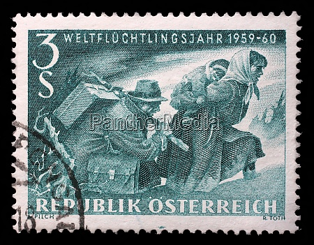 stamp issued in the austria shows
