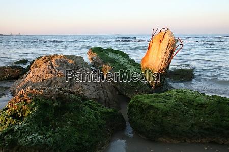 ruins beach at sundown caesarea israel