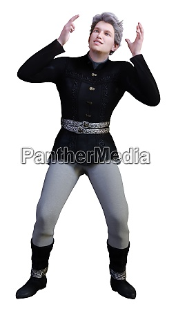3d rendering medieval prince on white