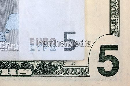 5 euros and 5 dollars