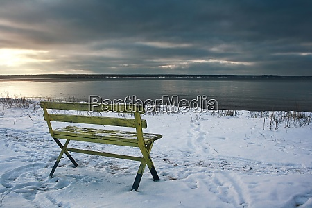 empty bench at seaside