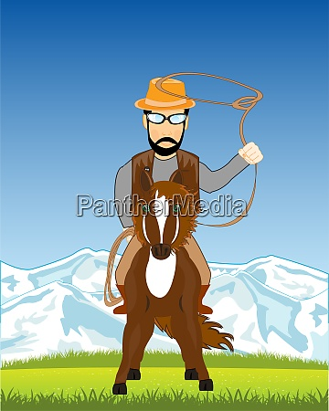 nature and man cowpuncher with lasso