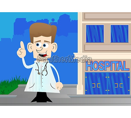 funny cartoon doctor making a point