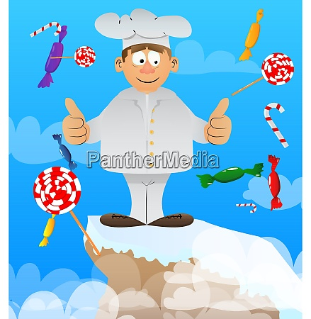 chef in uniform making thumbs up