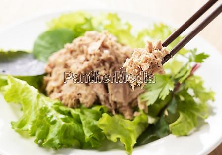 tuna served with the salad