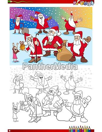 santa claus christmas characters coloring book