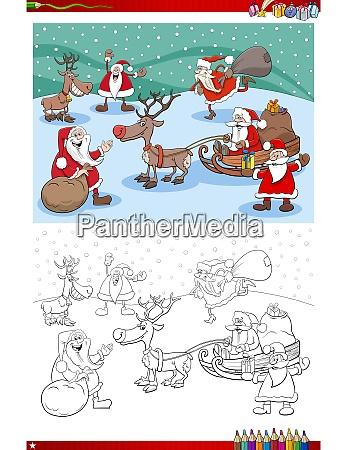 santa claus characters group on christmas