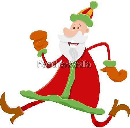 running santa claus cartoon character on