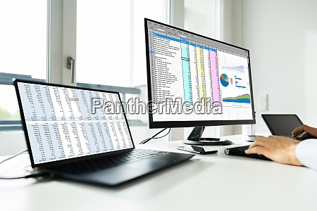 analyst employee working with spreadsheet