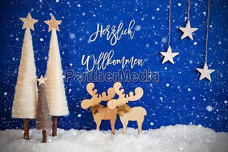 christmas tree moose snow star herzlich