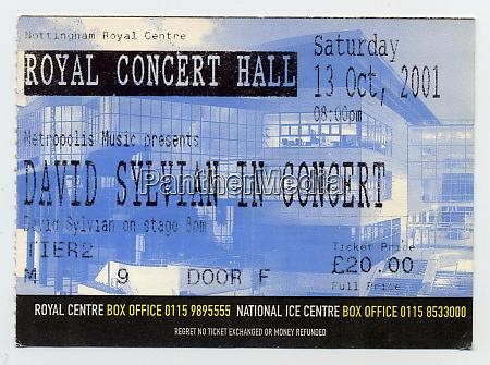 david sylvian concert ticket