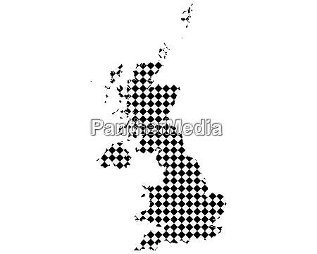 karte von grossbritannien mit kleinen rauten