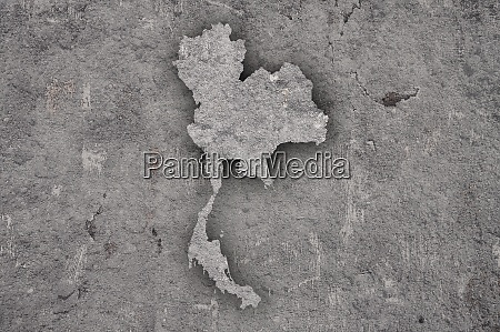 map of thailand on weathered concrete