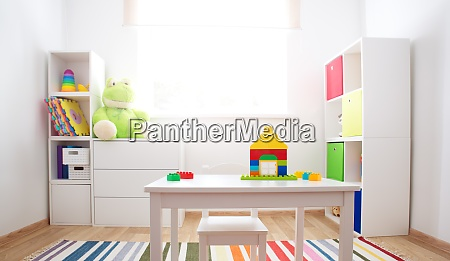 colourful children rooom with white walls