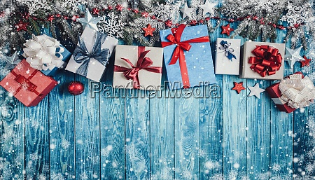 christmas stars on wooden background with
