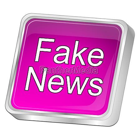 purple fake news button 3d