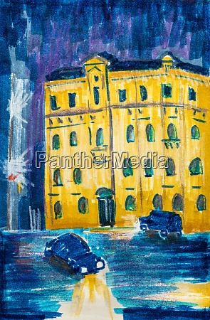 night cityscape with yellow apartment house