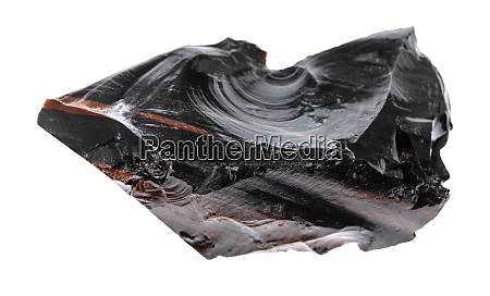 unpolished obsidian volcanic glass isolated