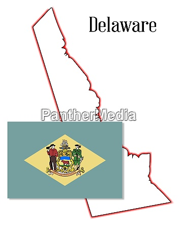 delaware state map and flag