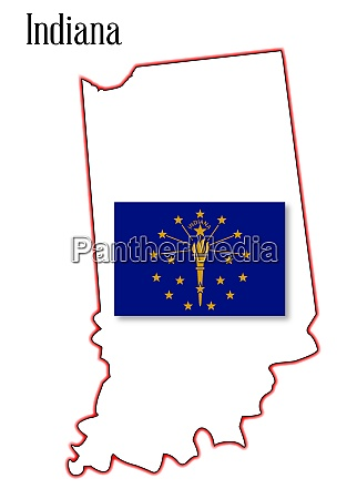 indiana state map and flag