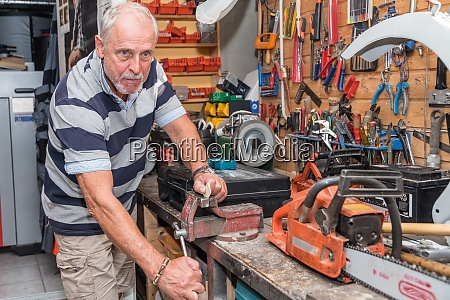 craftsman works in workshop