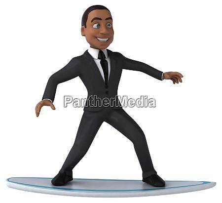 fun 3d cartoon business man surfing