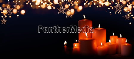burning, candles, in, christmas, night - 28992303