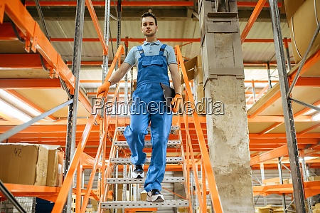 bicycle factory worker on the stairs