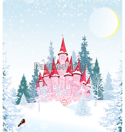 princess castle in winter forest