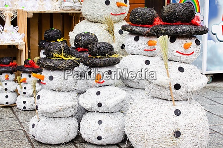creative snowmen made of hay or