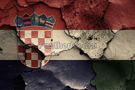 flags of croatia and hungary painted