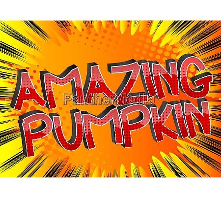 amazing pumpkin comic book style cartoon