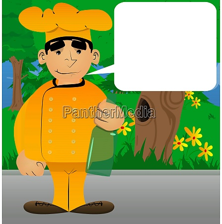 chef in uniform holding a bottle