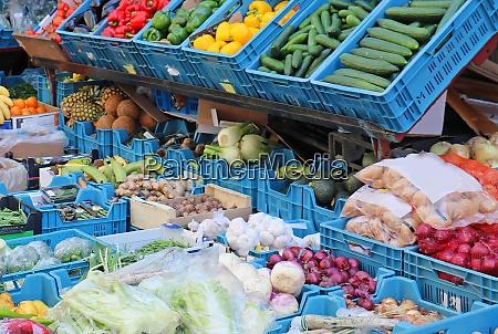 fresh organic food in market crates