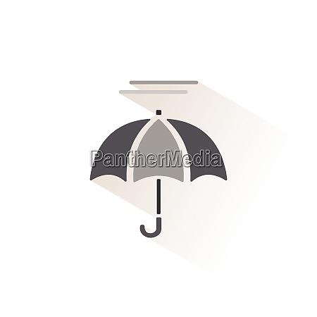 umbrella and fog isolated color icon