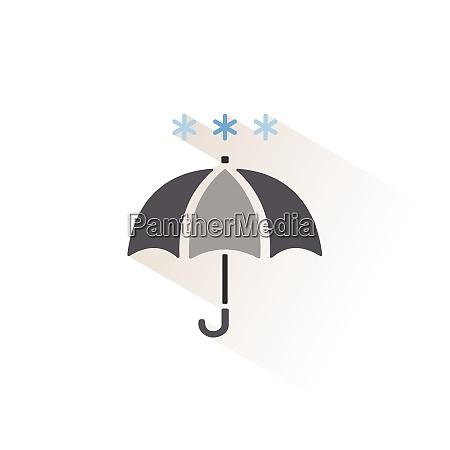 umbrella and snow isolated color icon