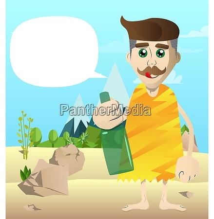 cartoon caveman holding a bottle