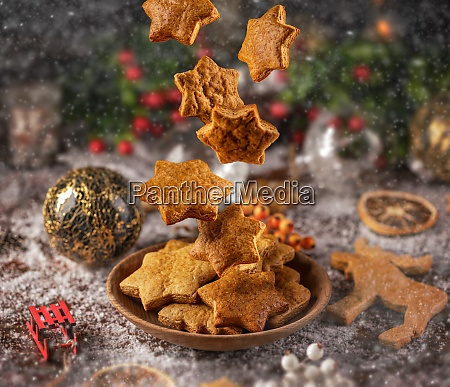 falling christmas gingerbread