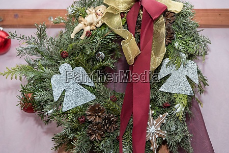 christmas wreath with angel advent