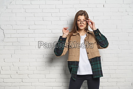 portrait of young hipster woman in