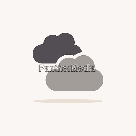 clouds overcast color icon with shadow
