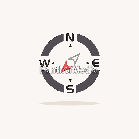 compass south west direction color icon