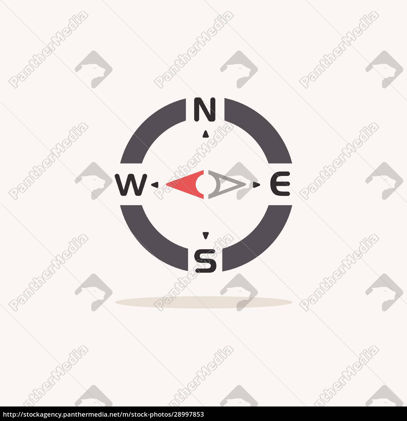 compass, west, direction., color, icon, with - 28997853