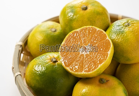 early japanese mandarin oranges in a