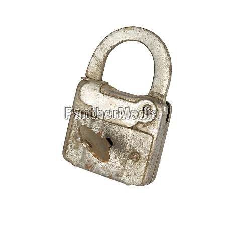 vintage old lock isolate on white