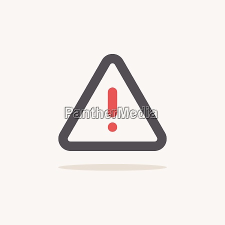 danger sign color icon with shadow