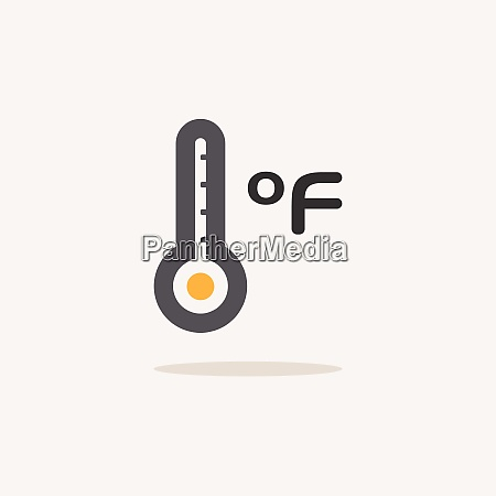 farenheit thermometer color icon with shadow