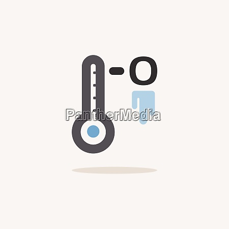 frozen thermometer color icon with shadow