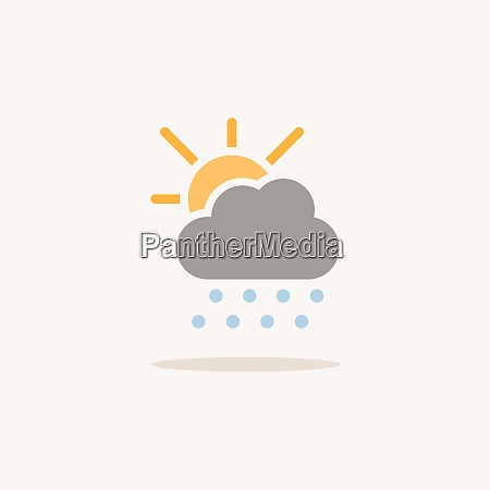 hail cloud and sun color icon