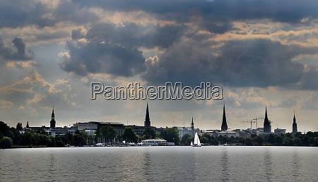 hamburg skyline with binnenalster
